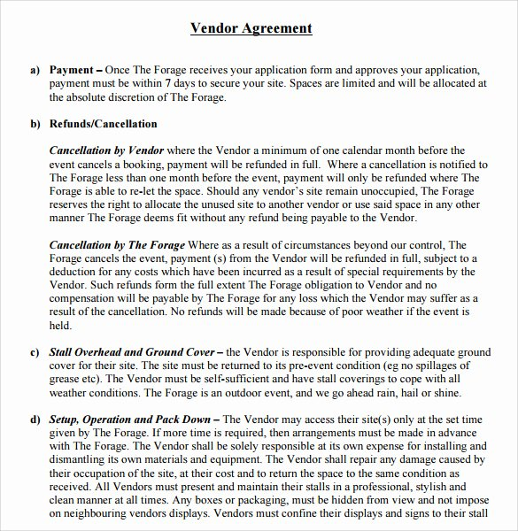 Simple Vendor Agreement Template Awesome 25 Of Basic Vendor Contract Template