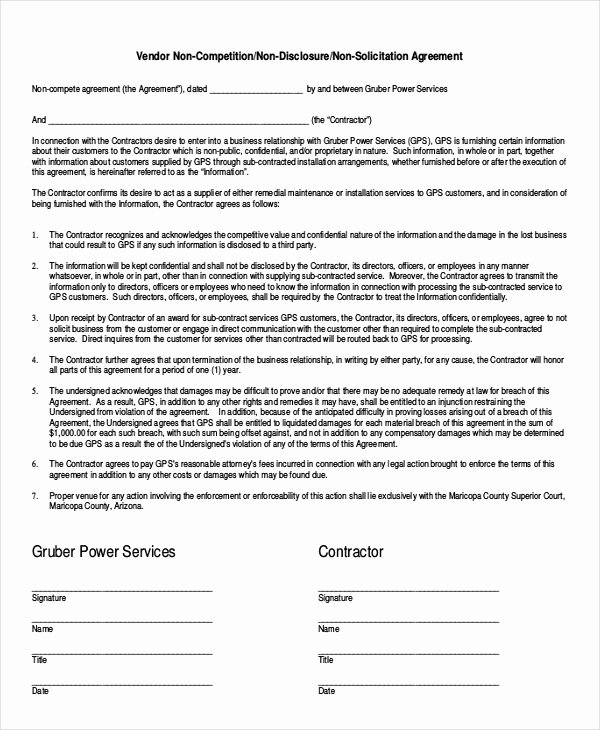 Simple Vendor Agreement Template Beautiful attorney Non Pete Agreement Template 9 Free Word
