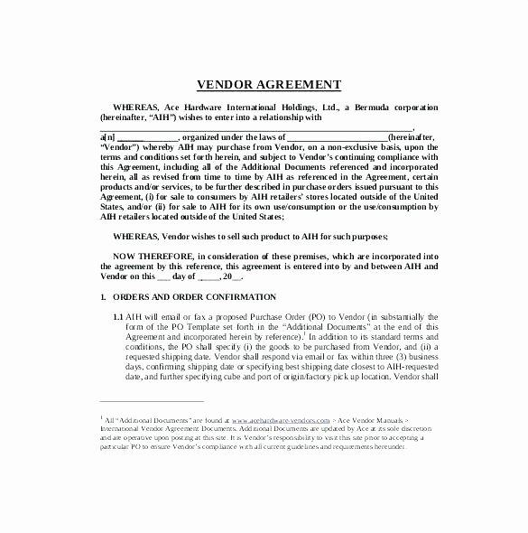 Simple Vendor Agreement Template Best Of Simple Vendor Agreement Template – Viabcp