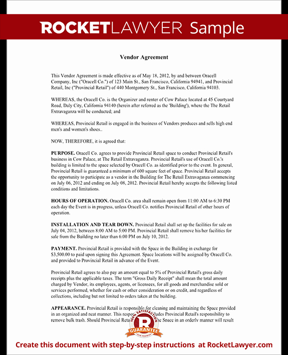 Simple Vendor Agreement Template Elegant Vendor Contract Template Create A Vendor Agreement with