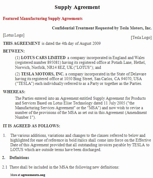 Simple Vendor Agreement Template Lovely Supply Agreement Download Pdf