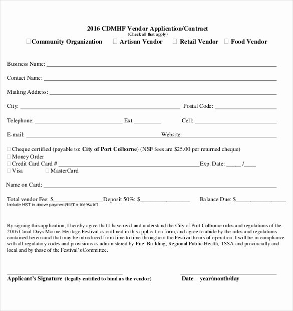 Simple Vendor Agreement Template Lovely Vendor Application form Template