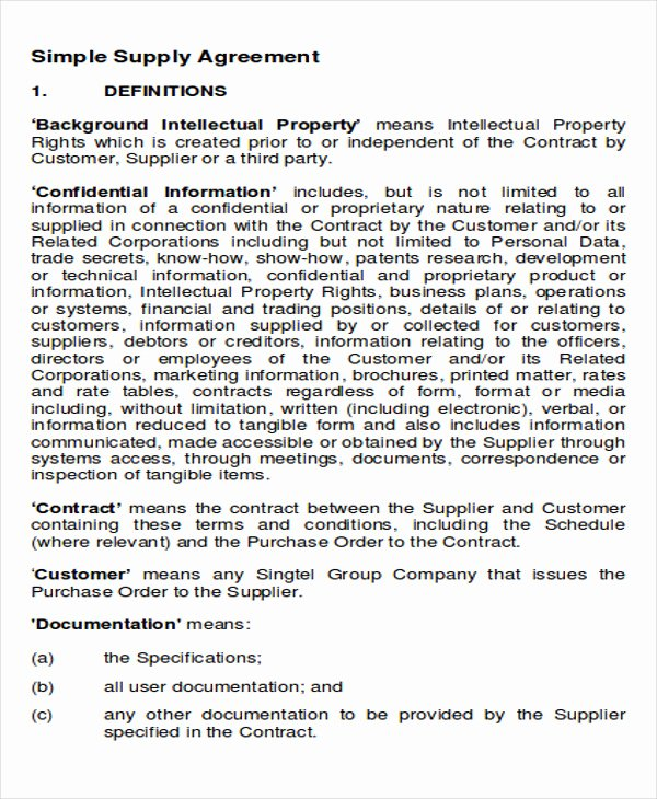 Simple Vendor Agreement Template Luxury Supply Agreement Contract Sample 11 Examples In Word Pdf