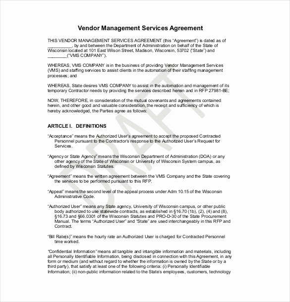 Simple Vendor Agreement Template New 25 Professional Agreement format Examples Between Two