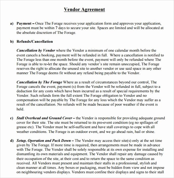Simple Vendor Agreement Template New Sample Vendor Contract Template 13 Free Samples