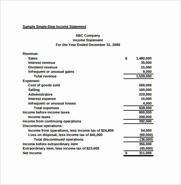 Simplified Income Statement Template Fresh Simple In E Statement 6 Samples Examples & format