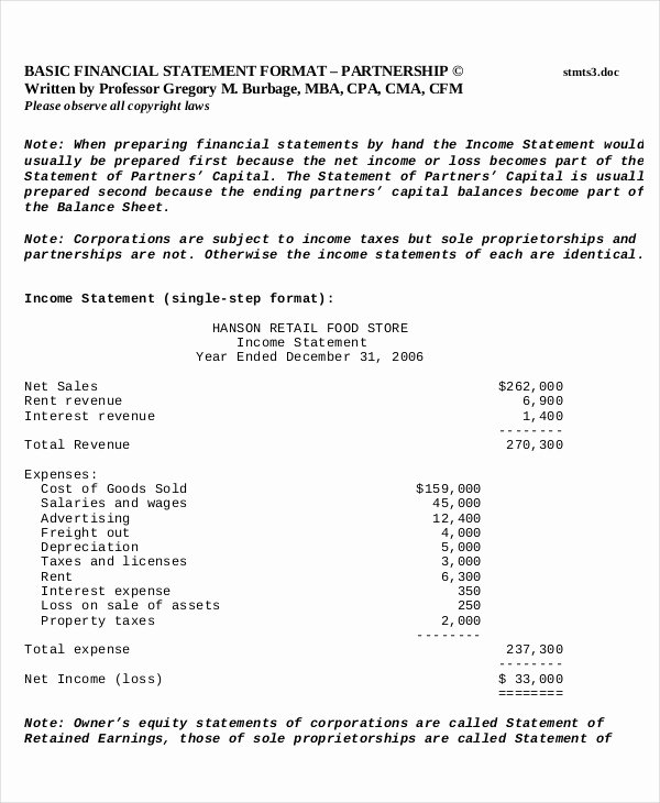 Simplified Income Statement Template Luxury In E Statement Template 14 Free Excel Pdf Word