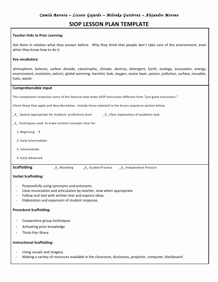Siop Lesson Plan Template 3 Best Of 5 Learn Model Lesson Plan Template assure Lesson Plan
