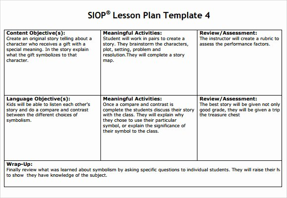 Siop Lesson Plan Template 3 Lovely Sample Siop Lesson Plan 9 Documents In Pdf Word
