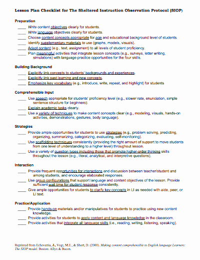 Siop Lesson Plan Template 3 Luxury Here is A Helpful Siop Lesson Plan Checklist