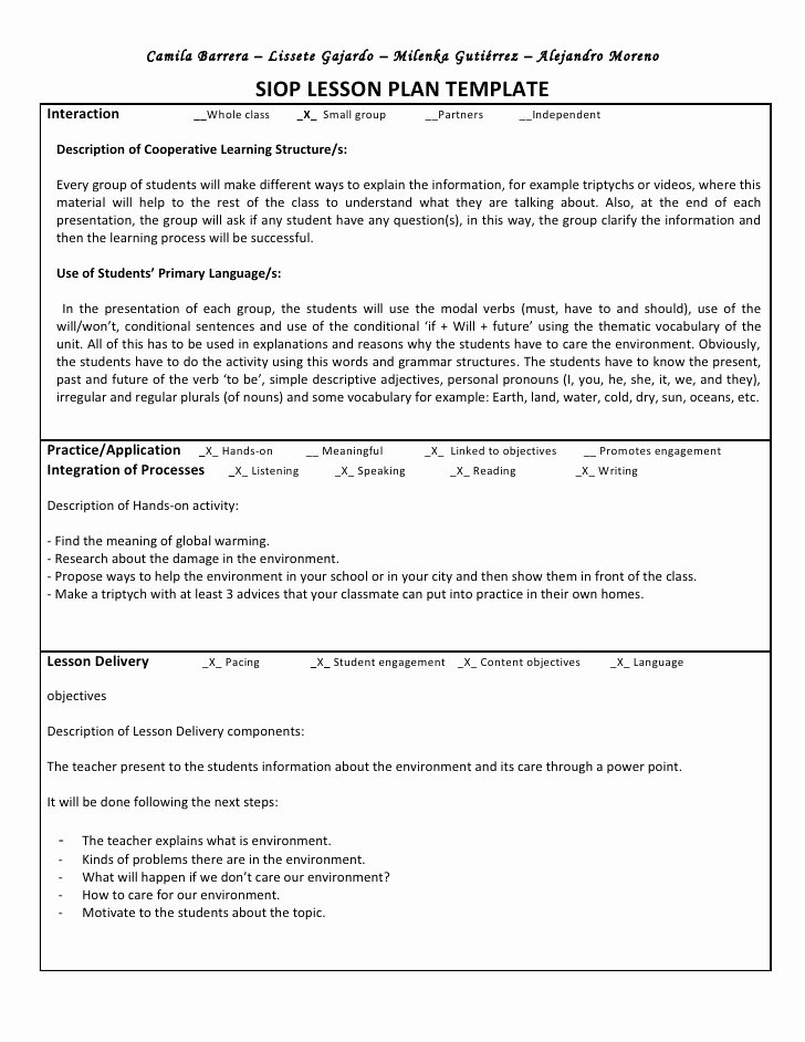Siop Lesson Plan Template 3 Unique Siop Unit Lesson Plan Template Sei Model