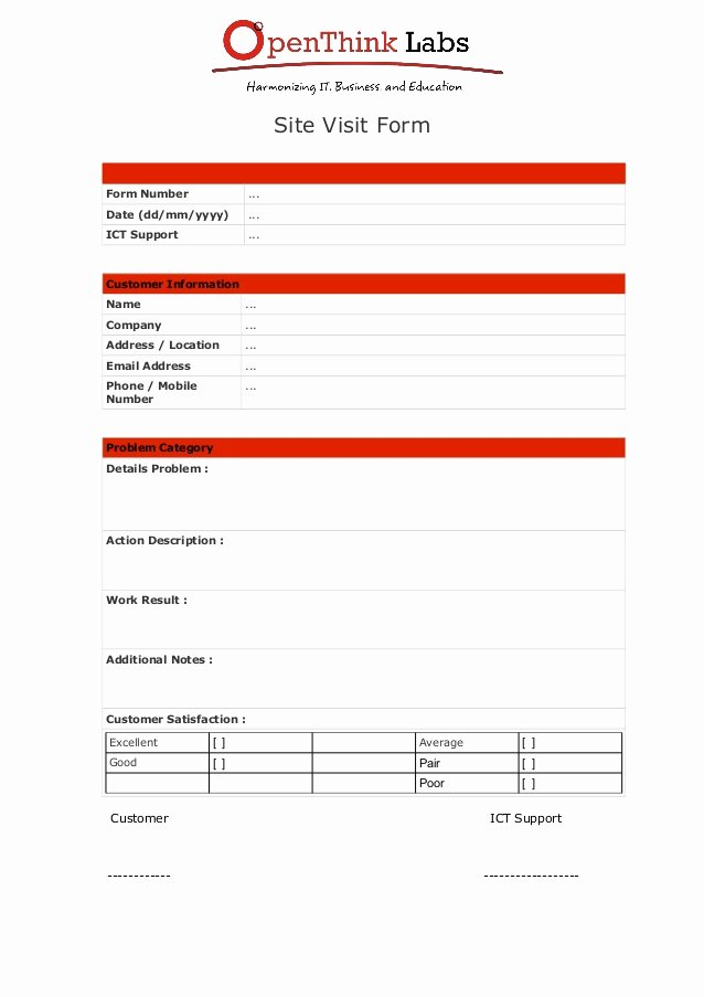 Site Visit Report Template Inspirational Supplier Site Visit Report Template