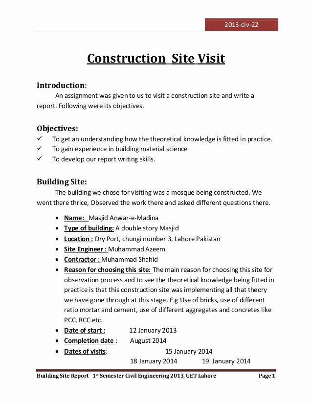 Site Visit Report Template Luxury Visit to A Construction Site