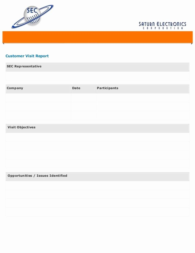 Site Visit Report Template New Customer Visit form