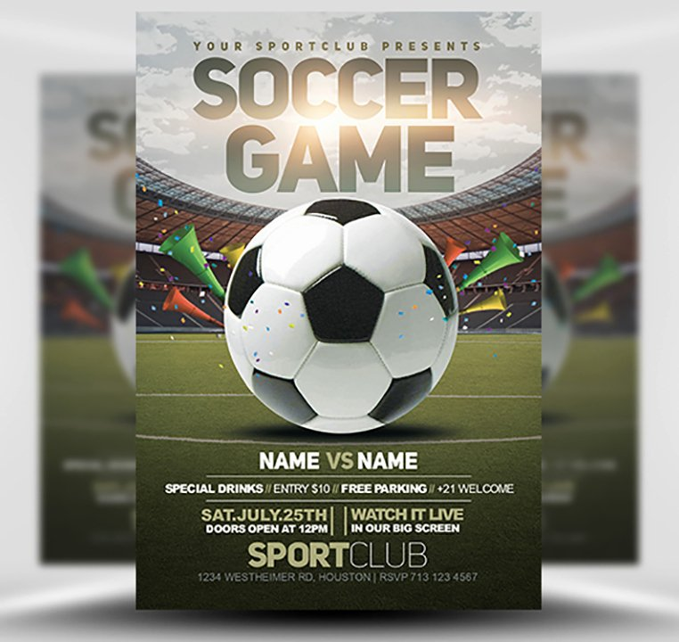 Soccer Flyer Template Free Beautiful soccer Game Flyer Template 2 Flyerheroes
