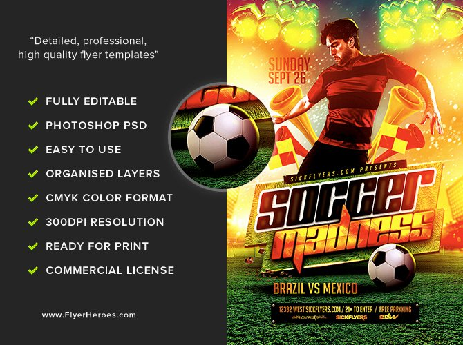 Soccer Flyer Template Free Fresh soccer Madness Flyer Template Flyerheroes