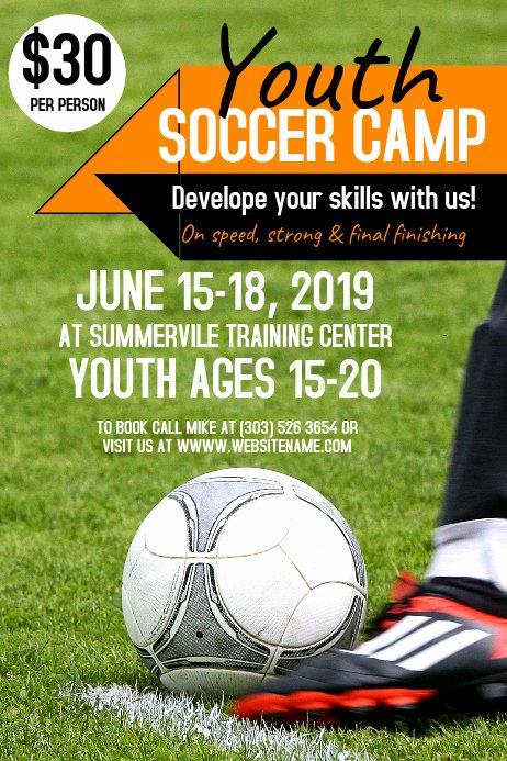 Soccer Flyer Template Free Fresh Youth soccer Camp Poster Template