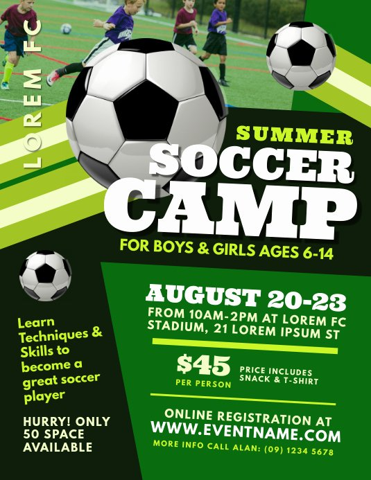Soccer Flyer Template Free Lovely soccer Camp Flyer Template