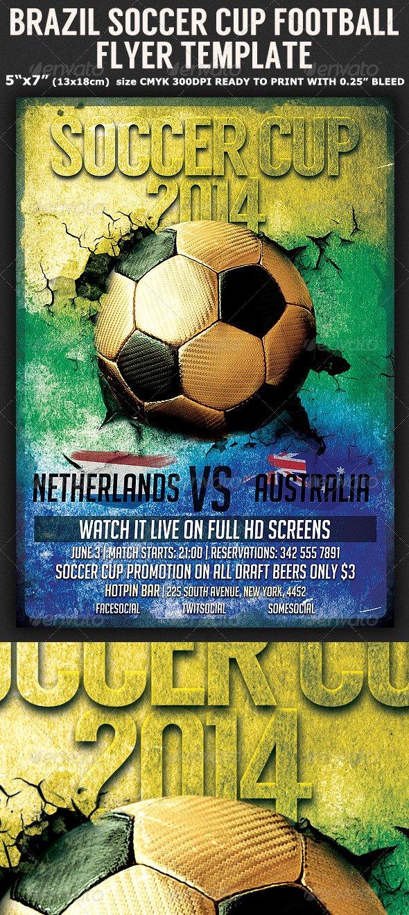Soccer Flyer Template Free Luxury 25 Best soccer World Cup Brazil Psd Flyer Templates