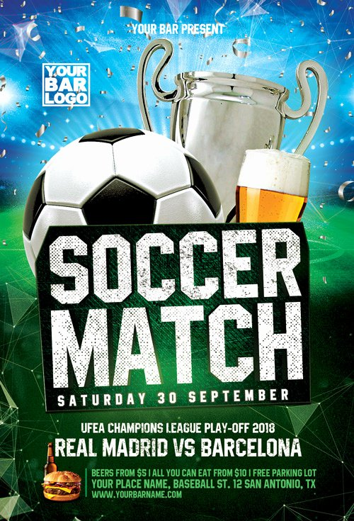 Soccer Flyer Template Free Luxury Euro soccer Match Flyer Template Flyer for Sport events