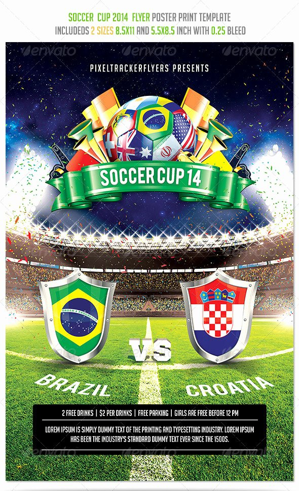 Soccer Flyer Template Free New 14 World Cup Brazil Psd Flyer Templates