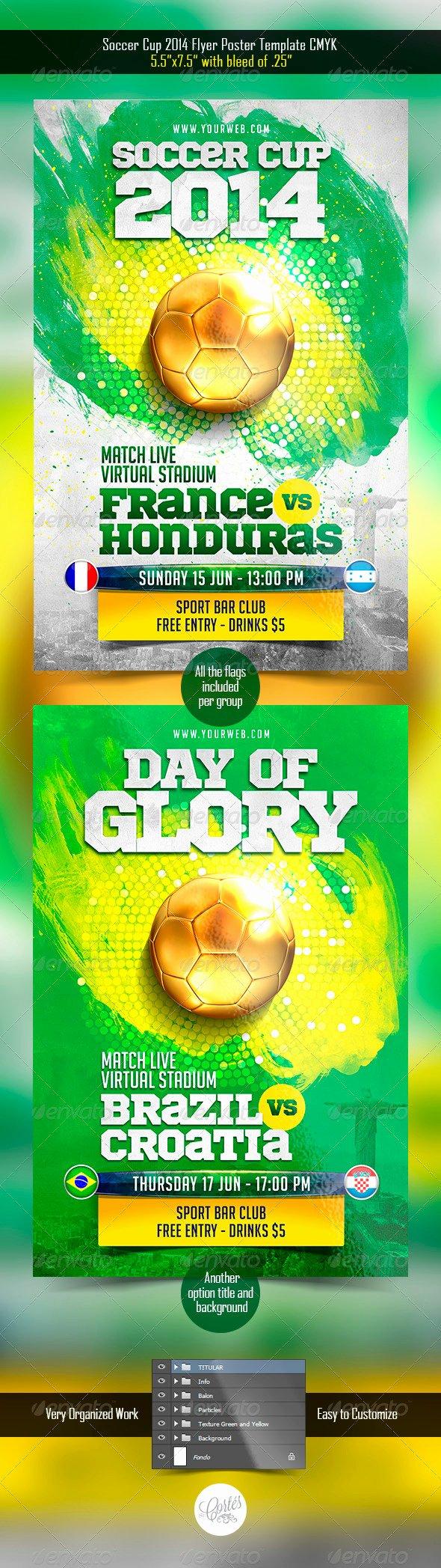 Soccer Flyer Template Free New 25 Best soccer World Cup Brazil Psd Flyer Templates