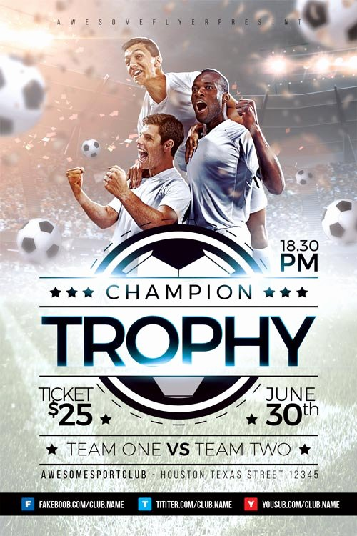 Soccer Flyer Template Free New Champion Trophy soccer Flyer Template Download soccer