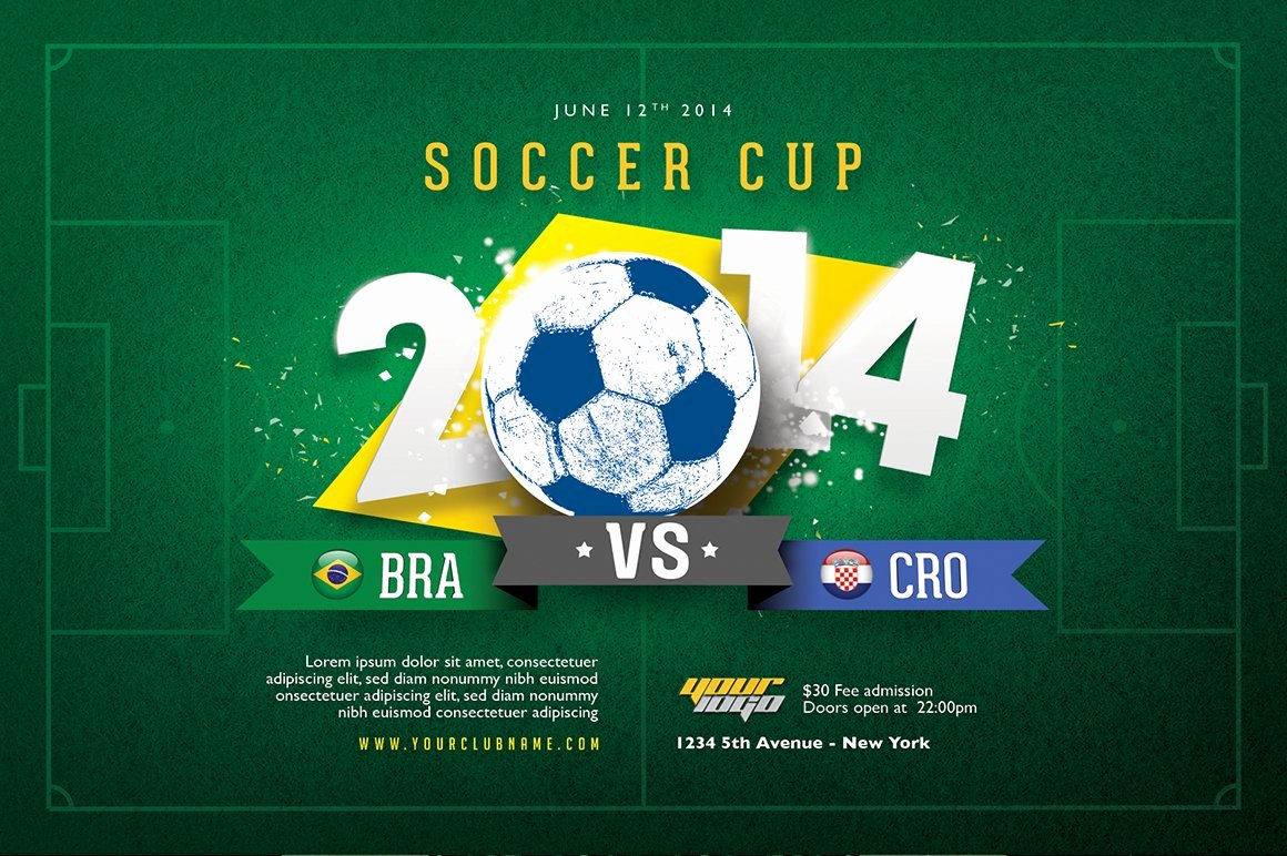 Soccer Flyer Template Free New soccer Cup Flyer Template Flyer Templates Creative Market