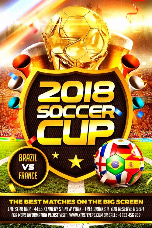 Soccer Flyer Template Free New soccer World Cup Flyer Template Xtremeflyers