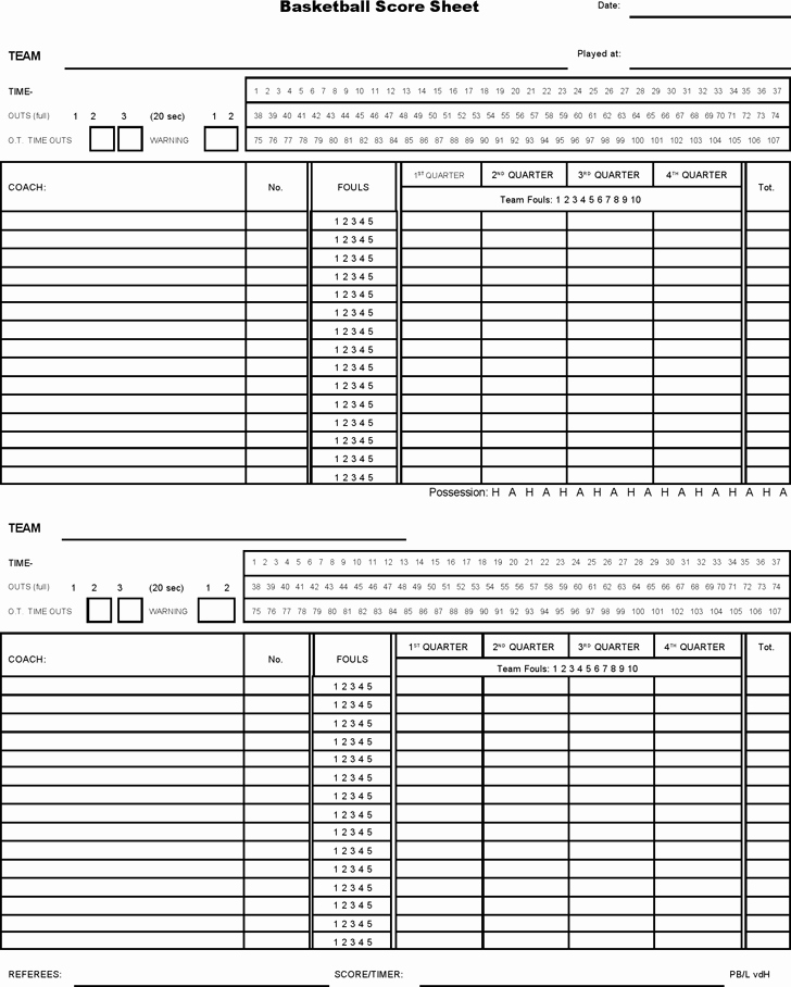 Soccer Score Sheet Template Awesome Basketball Score Sheet 2019