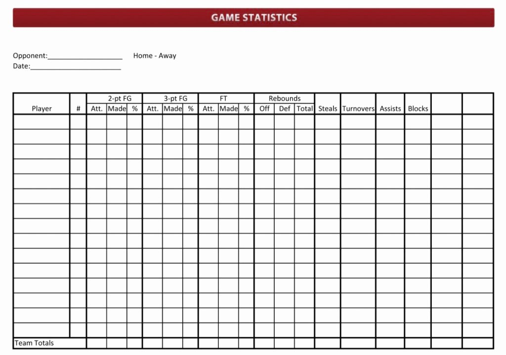 Soccer Score Sheet Template Awesome Basketball Stat Sheet 2019