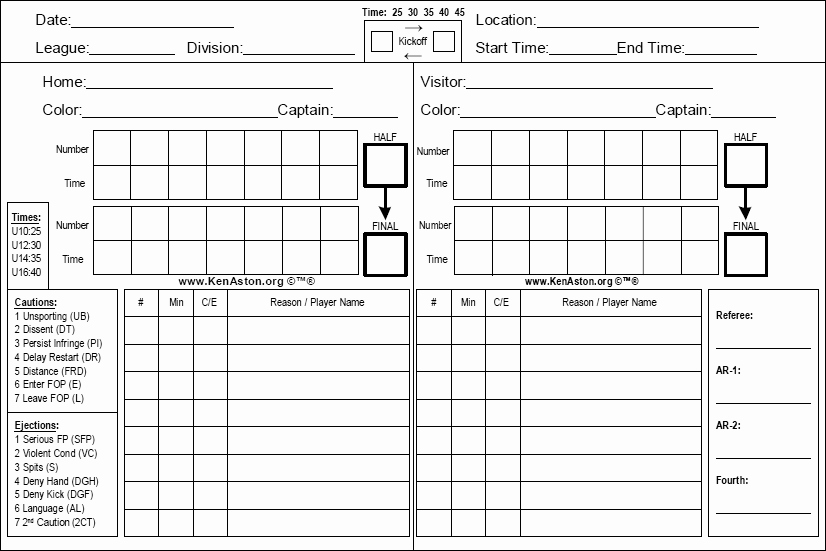 Soccer Score Sheet Template Awesome Ken aston Referee society the Referee tools for