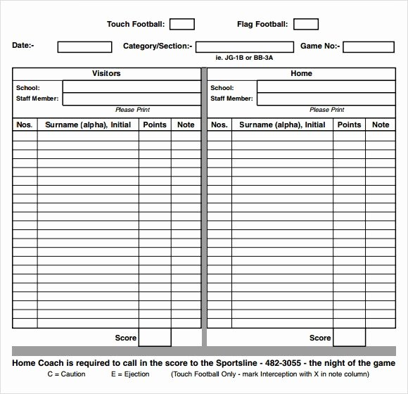 Soccer Score Sheet Template Awesome Printable Referee Score Cards – Ezzy
