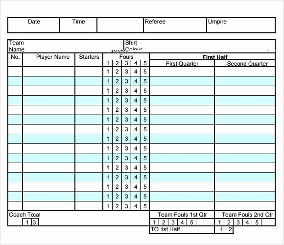 Soccer Score Sheet Template Best Of Basketball Score Sheet 2019