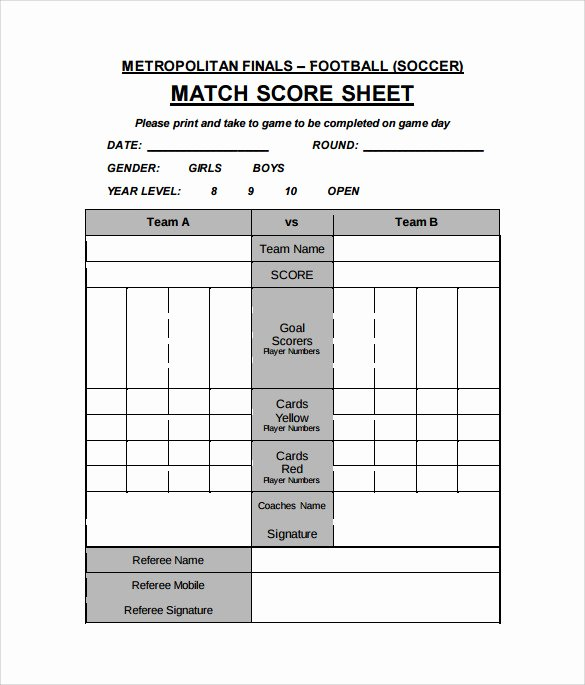 Soccer Score Sheet Template Inspirational 11 Football Score Sheets Free Sample Example format