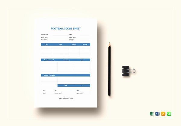 Soccer Score Sheet Template Inspirational Score Sheet Templates 26 Free Word Excel Pdf Document