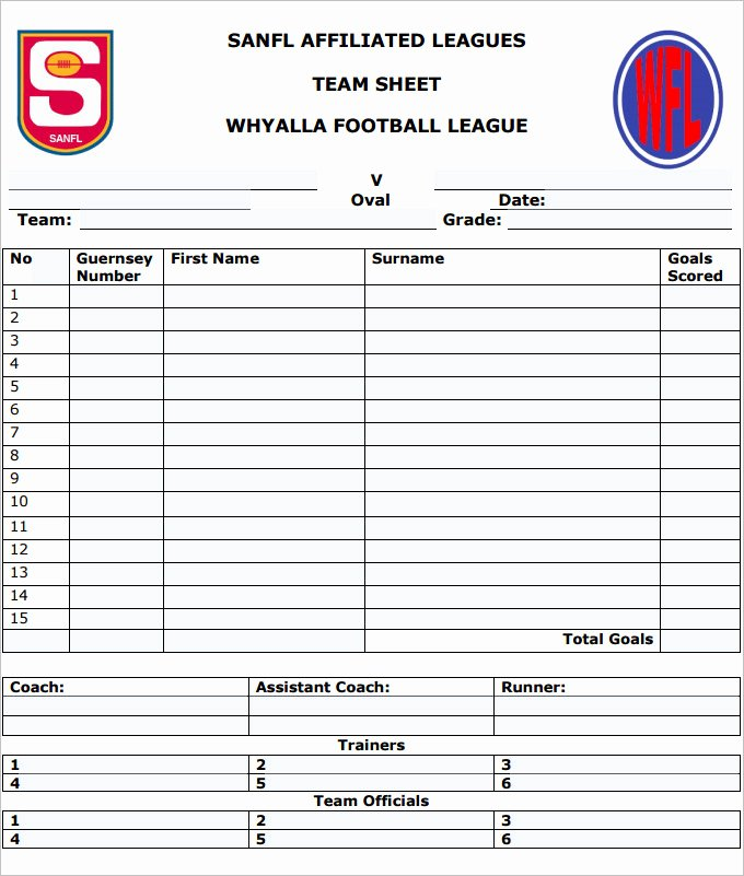Soccer Score Sheet Template Luxury Football Team Sheet Template 6 Pdf