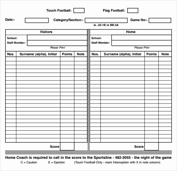 Soccer Score Sheet Template Luxury Sample Football Score Sheet 12 Documents In Pdf