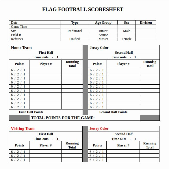 Soccer Score Sheet Template New 11 Football Score Sheets Free Sample Example format