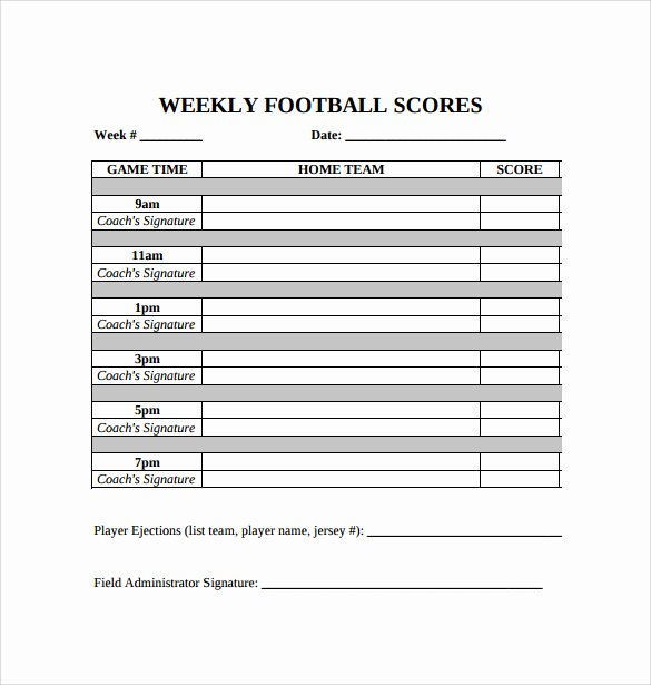 Soccer Score Sheet Template Unique 11 Football Score Sheets Free Sample Example format