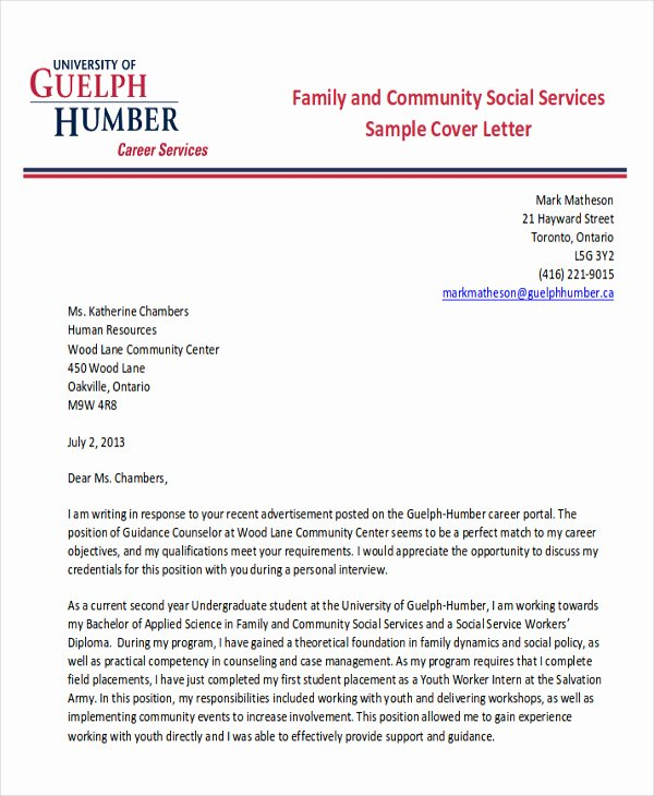 Social Work Cover Letter Template Beautiful 7 Sample social Worker Cover Letter Free Sample