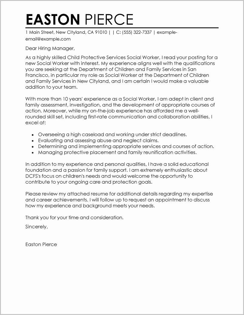 Social Work Cover Letter Template Elegant social Work Cover Letter for Resume