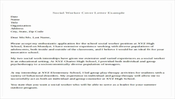Social Work Cover Letter Template New 7 Sample social Worker Cover Letters