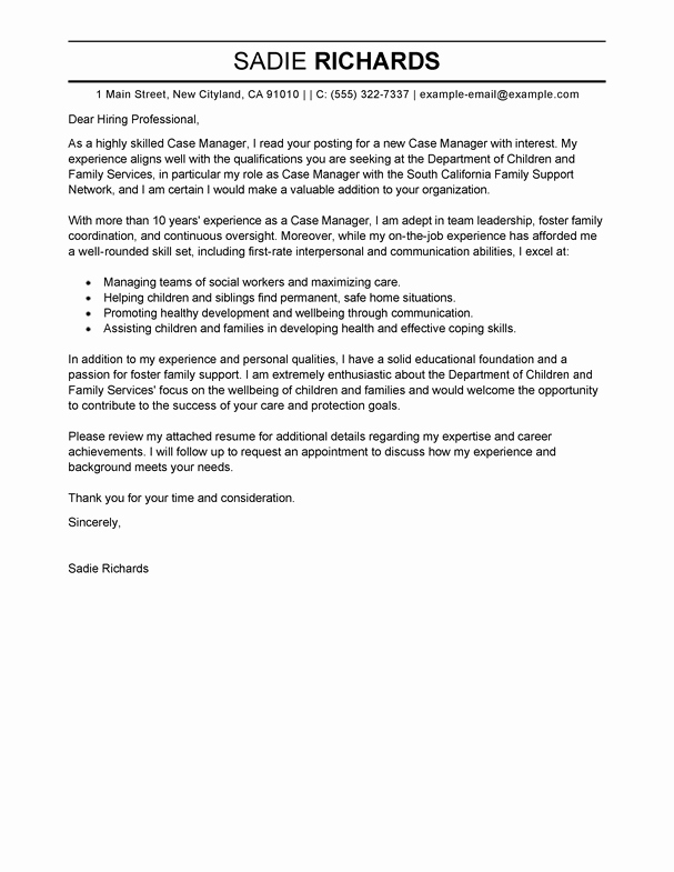 Social Work Cover Letter Template New Best Case Manager Cover Letter Examples