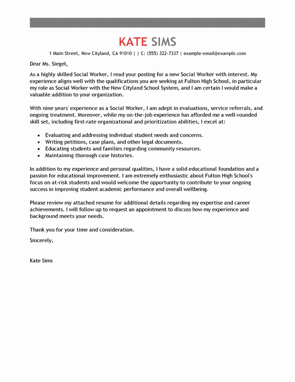 Social Worker Cover Letter Template Awesome Best social Worker Cover Letter Examples