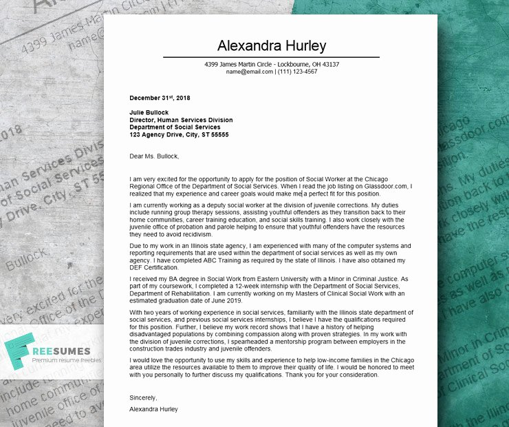 Social Worker Cover Letter Template Beautiful Excellent Cover Letter Example for A social Worker Freesumes
