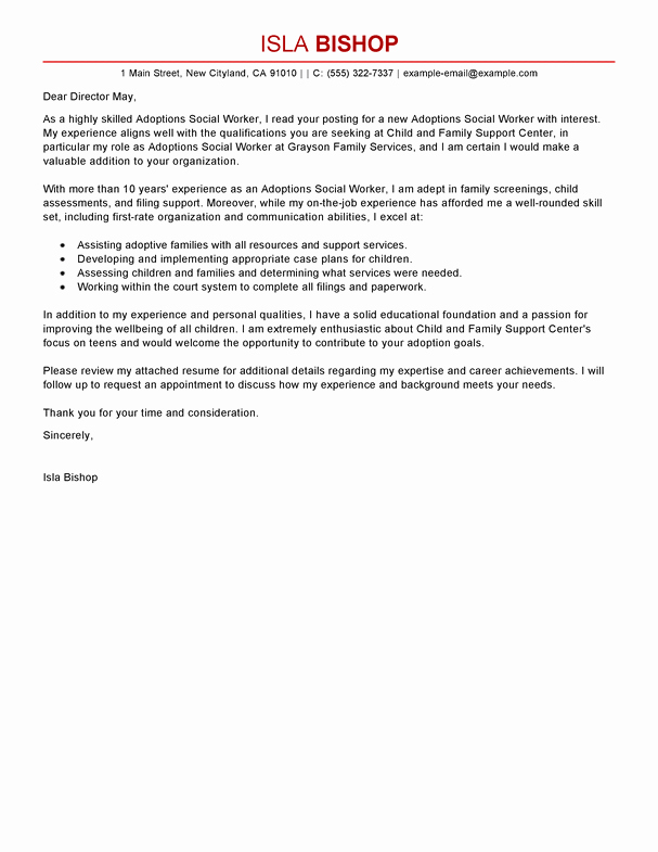 Social Worker Cover Letter Template Best Of Best Adoptions social Worker Cover Letter Examples