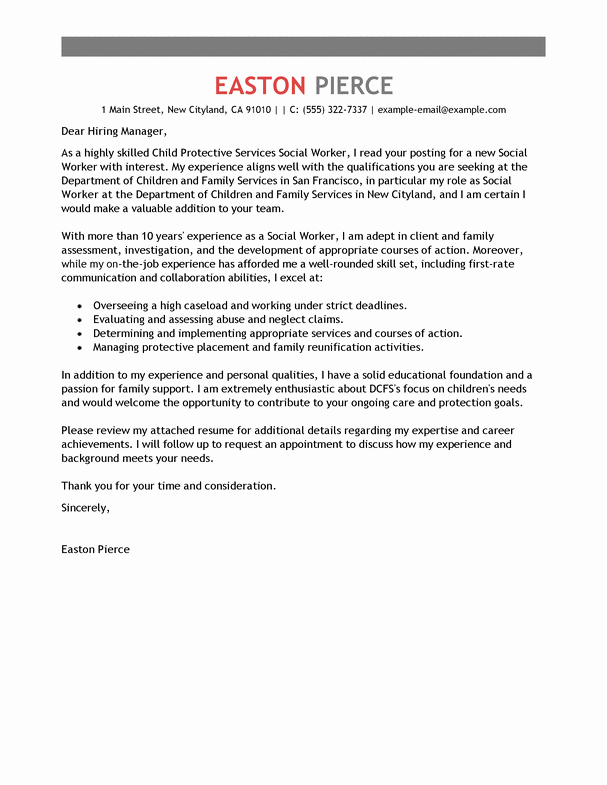 Social Worker Cover Letter Template Best Of Best social Services Cover Letter Examples