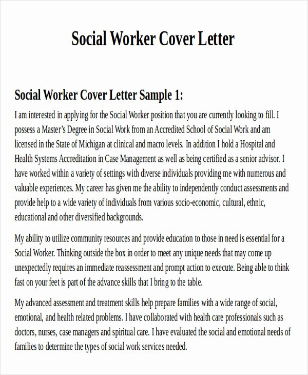 Social Worker Cover Letter Template Inspirational 7 Sample social Worker Cover Letter Free Sample