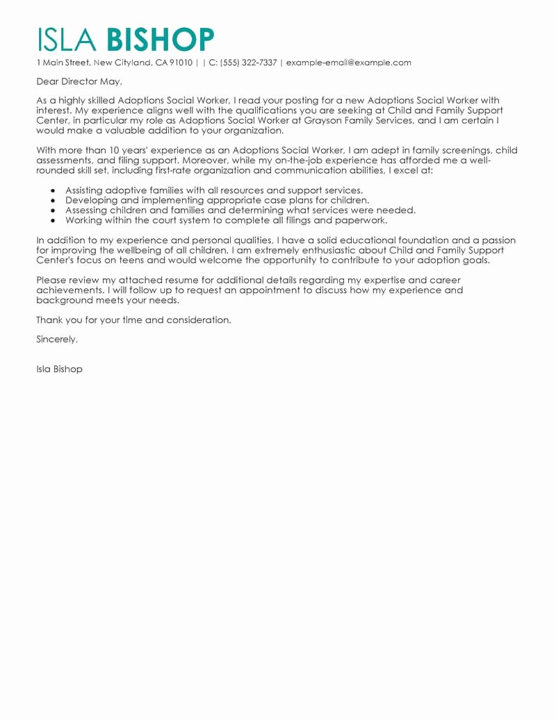 Social Worker Cover Letter Template Luxury Best Adoptions social Worker Cover Letter Examples